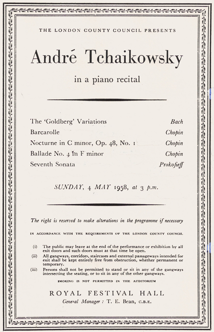 Andre Tchaikowsky Website – Concert Program
